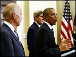 President Obama, accompanied by Vice President Joe Biden and Secretary of State John Kerry, announce he's rejecting the Keystone XL pipeline because he does not believe it serves the national interest.