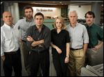 From left, Michael Keaton as Walter 'Robby' Robinson, Liev Schreiber as Marty Baron, Mark Ruffalo as Michael Rezendes, Rachel McAdams as Sacha Pfeiffer, John Slattery as Ben Bradlee, Jr., and Brian d'Arcy James as Matt Carroll from the film 'Spotlight.'