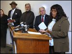 Toledo Mayor Paula Hicks-Hudson, right, announces the 2016 proposed city budget during a news conference earlier this month.
