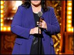 FILE - In this June 8, 2014 file photo, Rosie O'Donnell accepts the Isabelle Stevenson Award on stage at the 68th annual Tony Awards in New York. O'Donnell isn't mincing words when it comes to Donald Trump's presidential campaign.  On Monday, Nov. 23, 2015, O'Donnell said: