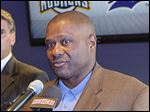 Lloyd McClendon, right, was introduced as the Mud Hens' new manager on Monday by team executive vice president and GM Erik Ibsen, left, and Detroit Tigers vice president of player development Dave Littlefield.