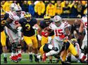 Ohio State RB Ezekiel Elliott (15) runs the ball against Michigan during the fourth quarter of the Buckeyes' 42-13 victory Saturday in Michigan Stadium.