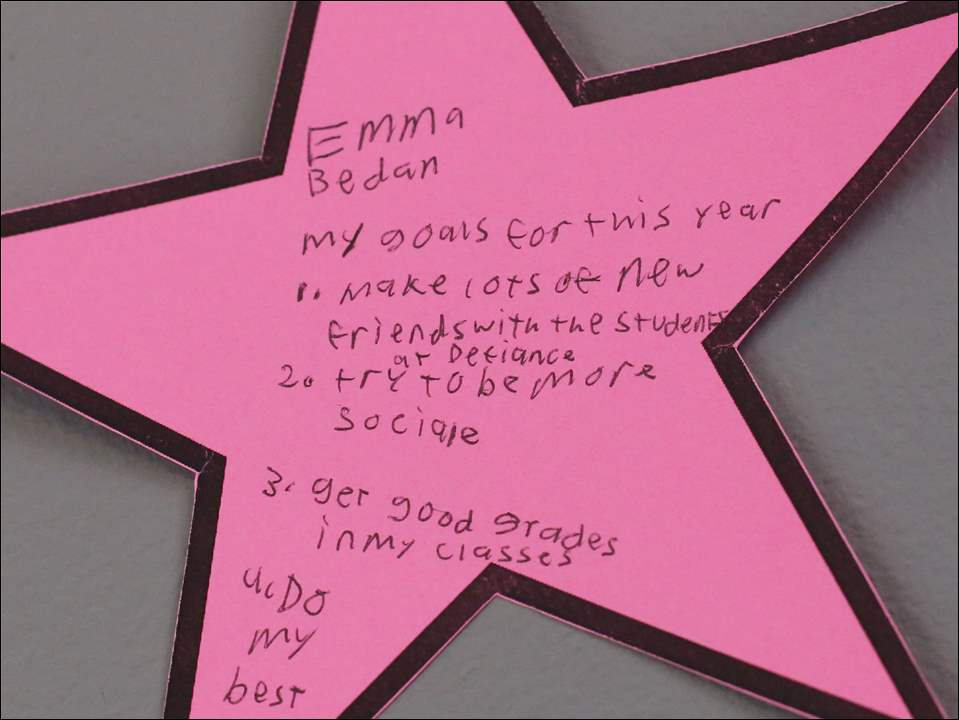 A yearly goal that student Emma Bedan wrote and posted on the wall in the common space with the other students in Defiance College's ASD Affinity Program.