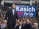 FILE - In this Tuesday, July 21, 2015, file photo, Ohio Gov. John Kasich takes the stage before announcing his run for the 2016 Republican partyís nomination for president during a campaign rally at Ohio State University in Columbus, Ohio. History shows itís hard to overstate Ohioís importance in the presidential race, and residents can expect to see the nominees crisscrossing the state frequently in the last weeks of the general election. (AP Photo/John Minchillo, File)