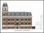 The justice center in Tiffin is to be shared by the city and Seneca County. The building is to be built on the site of the 1884 Beaux-Arts style courthouse that was destroyed in 2012.