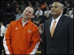 BGSU assistant coach Anthony Stacey, right, during a halftime ceremony at the Stroh Center.
