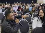 University of Toledo senior Isaiah Fitzhugh speaks during a 'Campus Conversations on Diversity'  forum attended by about 100 people Thursday evening in the UT Student Union.