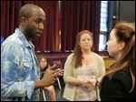 Ronve O'Daniel coached TSA actress Drew Longmore for 'In the Heights' last fall as teachers Amelia Lefevre and Alison Reny observed.  O'Daniel is the writer and lyricist of 'iLLA: A Hip Hop Musical,' which will be workshopped at TSA.