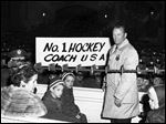 U.S. Olympic Hockey coach Jack Riley is welcomed back to U.S. Military Academy at West Point, N.Y. in February, 1960.