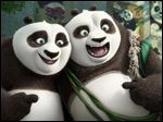 Po, voiced by Jack Black, left, and his long-lost panda father Li, voiced by Bryan Cranston, in a scene from