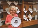 Local historian Marjorie Waterfield's collection of White House china is on display at the Way Public Library in Perrysburg.