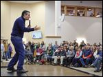 GOP candidate Sen. Ted Cruz delivers his message Monday in Barrington, N.H. Hopefuls and residents alike were making last-minute pushes and decisions.