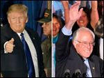 Left, Republican presidential candidate Donald Trump gives a thumbs-up to supporters Tuesday during a rally in Manchester, N.H. At right, Democratic presidential candidate Sen. Bernie Sanders waves to the crowd at his primary rally in Manchester.
