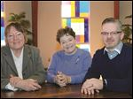 The Rev. Bev Bingle, left, of Holy Spirit Catholic Community, Judy Horne, administrator of Washington Church, and ministry leader Bob Shanks, of Toledo Church of Christ, share worship space at Washington Church on Central Avenue.
