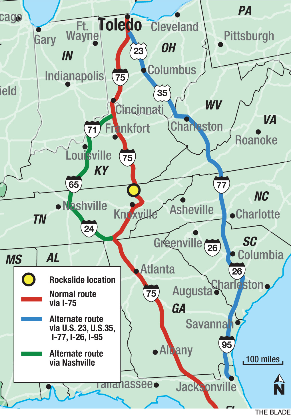 Spring Break Travel Being Lengthened By Tennessee Rockslide The - Us 95 south map