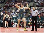 Clay's Matt Stencel celebrates after defeating Jared Campbell of Lakewood St. Edward during their 220-pound Division I championship match in Columbus. Stencel, a senior, finished the season with a record of 42-1.