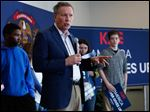 John Kasich speaks to supporters during a town hall meeting at Monroe County Community College earlier in the campaign.
