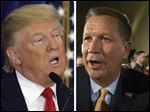 Republican presidential candidate Donald Trump, left, and Ohio Gov. John Kasich, right.