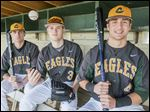 Clay starters, from left, Jon Quinlan, Chandler Cannon, and Christian Orr are expected to help the Eagles vie for the TRAC baseball crown.