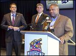 Lloyd McClendon is introduced Nov. 23 as Mud Hens manager. He managed the Pittsburgh Pirates from 2001-05 and the Seattle Mariners from 2014-15.