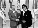 President Richard Nixon greets Elvis Presley in the Oval Office on Dec. 21, 1970. The entertainer was reported to have suffered from prescription drug abuse.