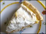 Lemon meringue pie made with aquafaba meringue.