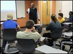 Maurice Washington leads his Career and Life Planning class at Bowling Green State University in October.