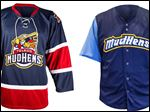 The Walleye will wear a jersey, left, Friday night with the Mud Hens logo and colors. The Mud Hens will wear a jersey with Walleye colors, but rules prohibit any changing of the name.