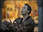 Brian Arreola, who plays Romeo, performs a song from Toledo Opera production of Romeo & Juliet at the Toledo Museum of Art. The production runs through Sunday at the Valentine Theatre.