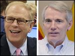 Former Ohio governor Ted Strickland, left, and Sen. Rob Portman, right.