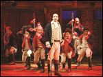 Lin-Manuel Miranda, front, with the cast during a performance of 'Hamilton' in New York.