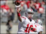 Joe Burrow is the top candidate to back up Ohio State quaterback J.T. Barrett. Burrow threw three touchdown passes in the spring game.