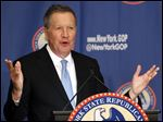 Republican presidential candidate Ohio Gov. John Kasich gestures as he addresses the New York Republican State Committee Annual Gala April 14.