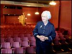 Madge Levinson stands backstage at the Toledo Repertoire Theatre on Monday.