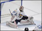 Toledo goalie Jake Paterson makes a kick save during the Walleye's Game 4 win at Reading.