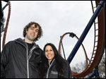 Steven Franczek and Julie Santiago, Cleveland, both members of the Great Ohio Coaster Club, rode the new Valravn coaster 10 times during a media preview at Cedar Point in Sandusky on Wednesday.