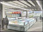 A rendering shows the chilled and frozen sections of a 365 by Whole Foods store. Whole Foods says the store  in Toledo will have a minimalist layout and affordable prices.