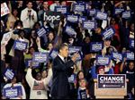 Then-Sen. Barack Obama campaigns for the Democratic nomination at the University of Toledo on Feb. 24, 2008. UT has no record of asking for or collecting payment for the visit.