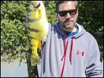 This huge yellow perch, caught by angler Dave Berg of Mentor in mid-April, is a potential state record in Ohio. Berg's fish had an unofficial weight of 2.9 pounds when it was caught. Ohio's current state record perch weighed 2.75 pounds and was caught in 1984.