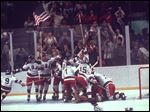 The U.S. hockey team pounces on goalie Jim Craig after a 4-3 victory against the Soviets in the 1980 Olympics in Lake Placid, N.Y., Feb. 22, 1980. The U.S team went on to defeat Finland for the gold medal.