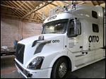An Otto driverless truck at a garage in San Francisco.