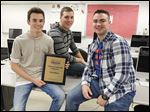 Clay seniors Jake Vriezelaar, left, Joshua Mohr, and Mason Becker won a video competition at the Business Professionals of America's national leadership conference.