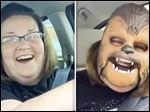 Screengrab of Candace Payne's public Facebook video. Millions of people have watched Candace Payne woman try on a Chewbacca mask from Kohl's, making it the most-watched video on Facebook Live ever.