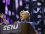 Democratic presidential candidate Hillary Clinton spoke to more than 3,000 Service Employees International Union members Monday at the union's 2016 International Convention in Detroit.