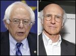Democratic presidential candidate Bernie Sanders, left, and Larry David, right.