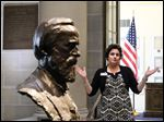 Christie Weininger, executive director of the Rutherford B. Hayes Presidential Library & Museums in Fremont, conducts a media tour of the new exhibits.