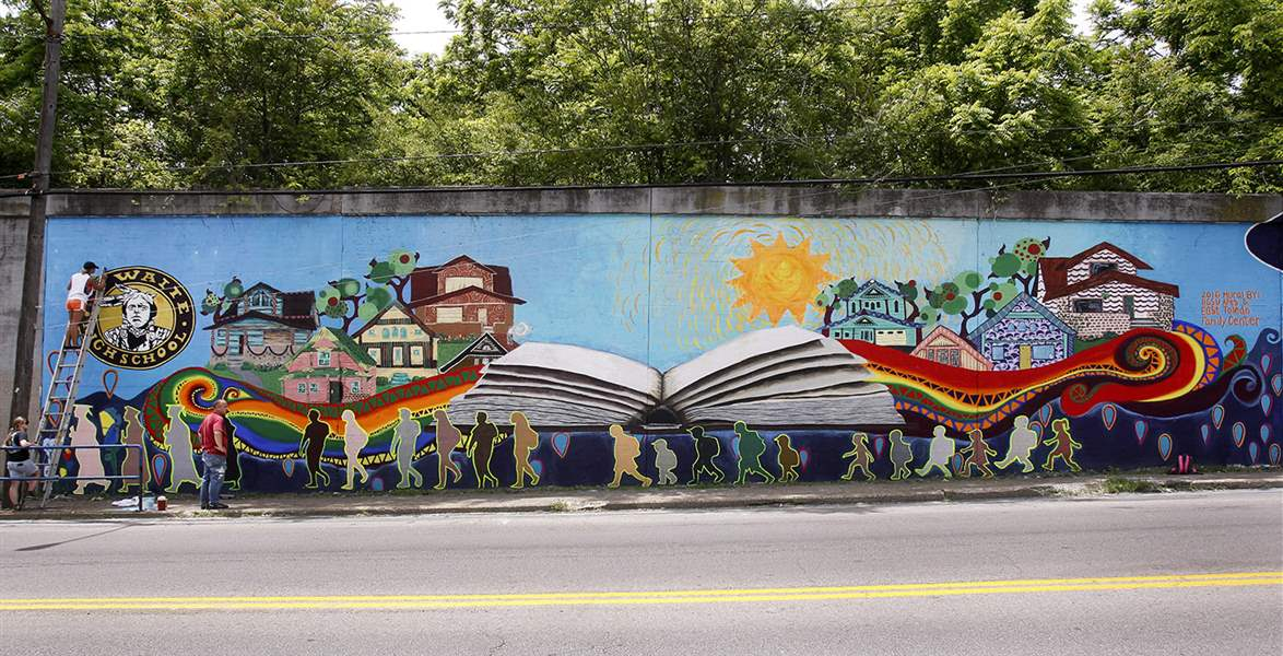 Bgsu students create mural reflecting toledo neighborhood for Broadway wall mural
