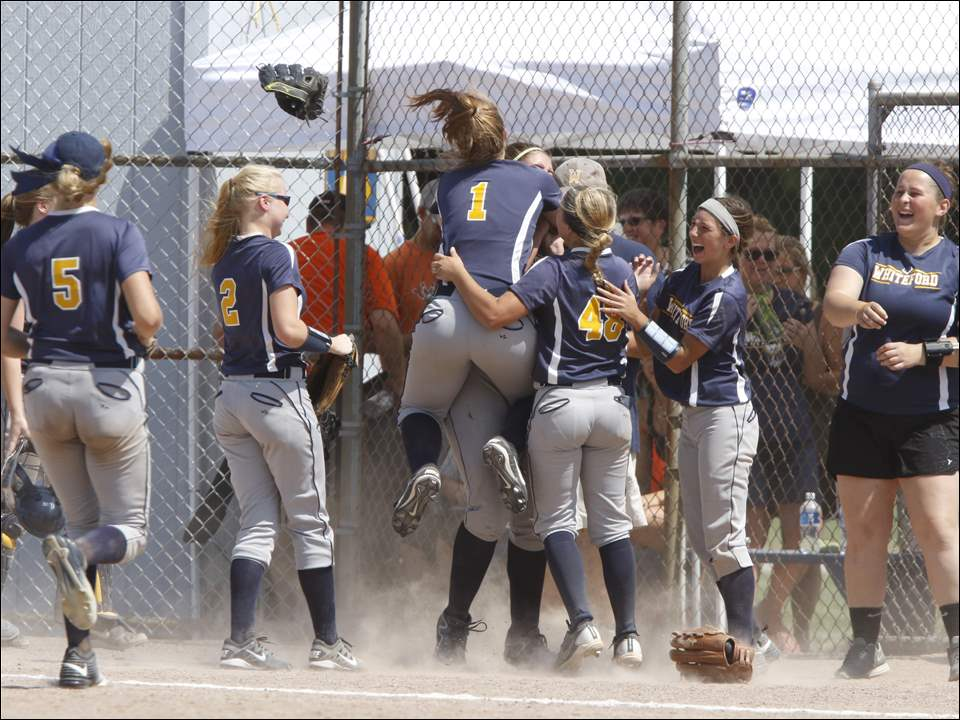 Whiteford players mob pitcher Lindsey Walker (7) as they celebrate their win against Southfield Christian.