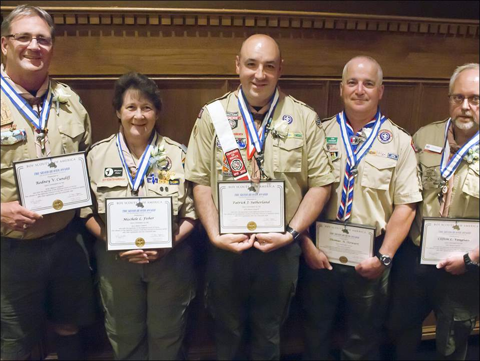 Boy Scouts of America Silver Beaver Award winners, from left: Rodney Cundiff, Mischele Fisher, Patrick Sutherland, Thomas Stewart, and Clifton Vaughan.