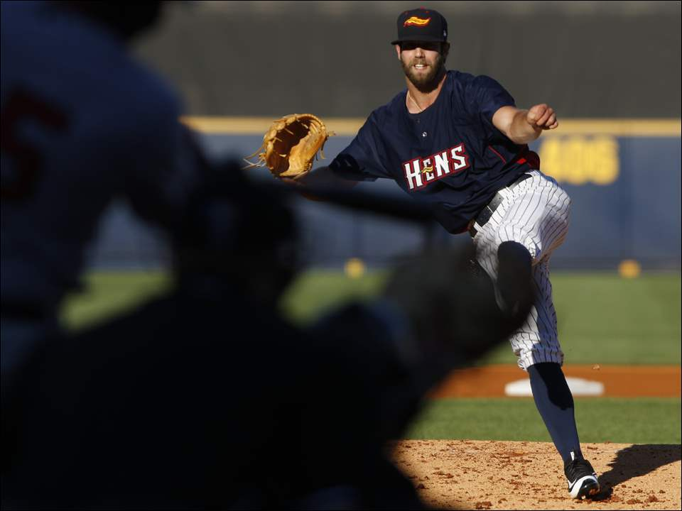 Mud Hens starter Daniel Norris throws a strike.